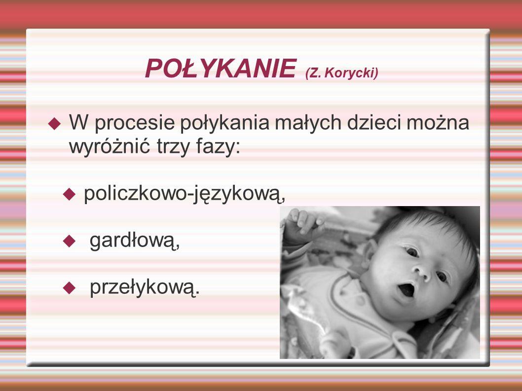 POŁYKANIE (Z. Korycki)  W procesie połykania małych dzieci można wyróżnić trzy fazy:  policzkowo-językową,  gardłową,  przełykową.