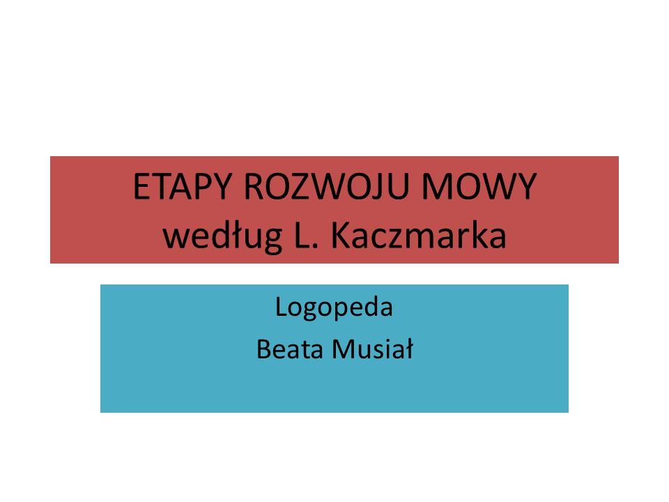ETAPY ROZWOJU MOWY według L. Kaczmarka Logopeda Beata Musiał