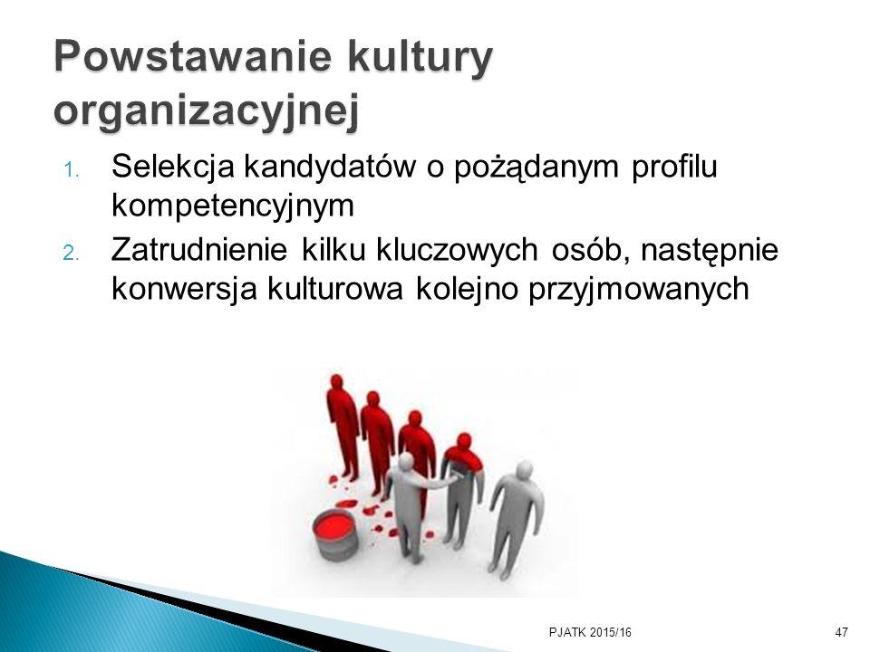 1. Selekcja kandydatów o pożądanym profilu kompetencyjnym 2. Zatrudnienie kilku kluczowych osób, następnie konwersja kulturowa kolejno przyjmowanych P