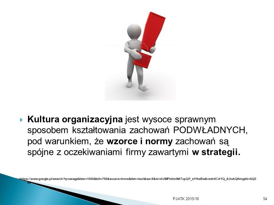 Kultura organizacyjna jest wysoce sprawnym sposobem kształtowania zachowań PODWŁADNYCH, pod warunkiem, że wzorce i normy zachowań są spójne z oczeki