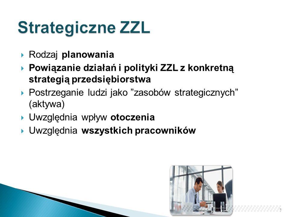 """ Rodzaj planowania  Powiązanie działań i polityki ZZL z konkretną strategią przedsiębiorstwa  Postrzeganie ludzi jako """"zasobów strategicznych"""" (akt"""