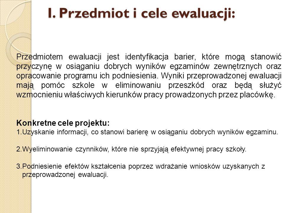 I. Przedmiot i cele ewaluacji: Przedmiotem ewaluacji jest identyfikacja barier, które mogą stanowić przyczynę w osiąganiu dobrych wyników egzaminów ze