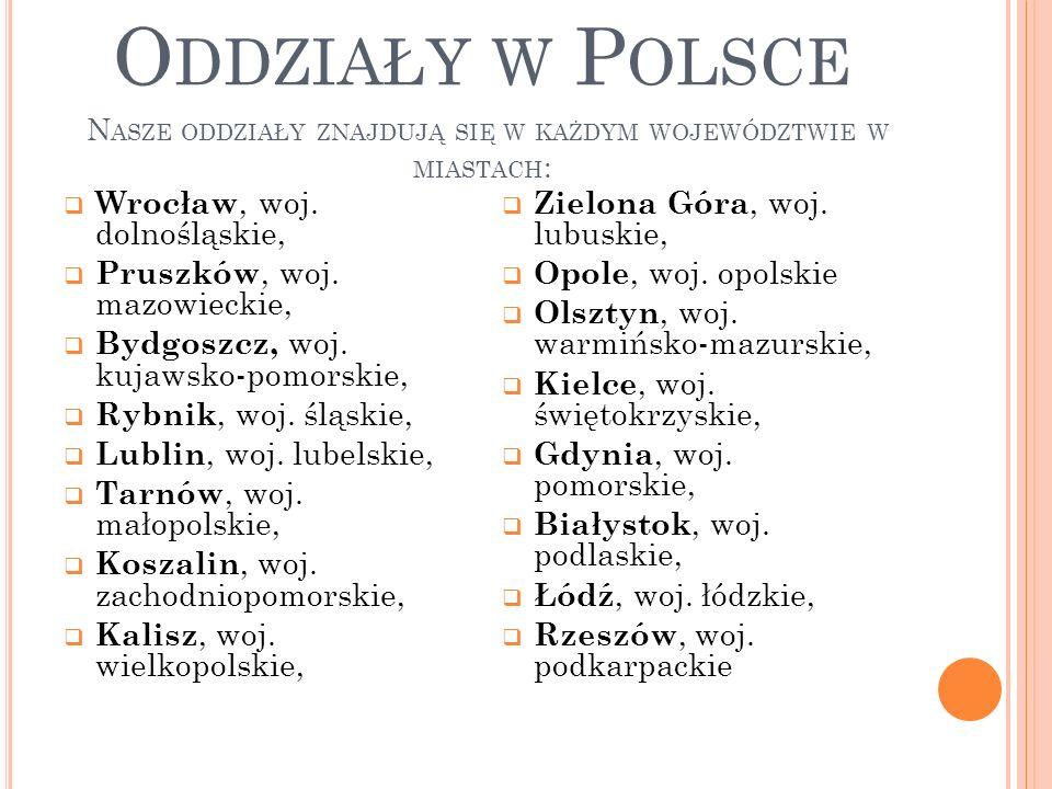 STRUKTURA Biuro w 2012 roku posiada 16 oddziałów w całej Polsce !!Jesteśmy w każdym województwie!.