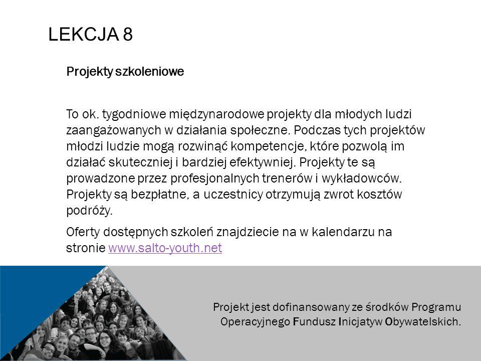 LEKCJA 8 Projekty szkoleniowe To ok.