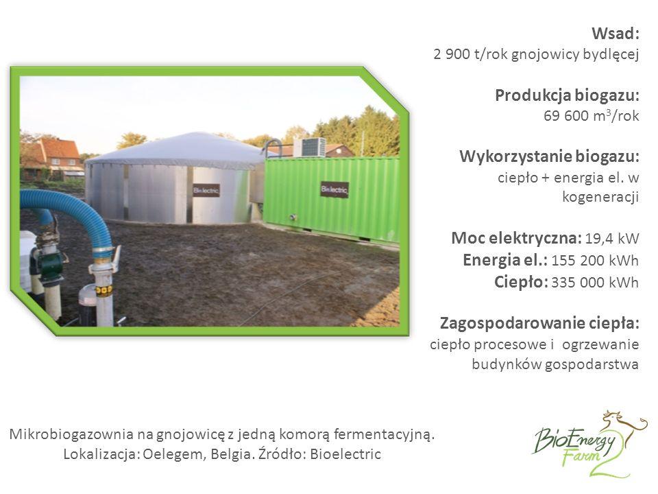 Mikrobiogazownia na gnojowicę z jedną komorą fermentacyjną.