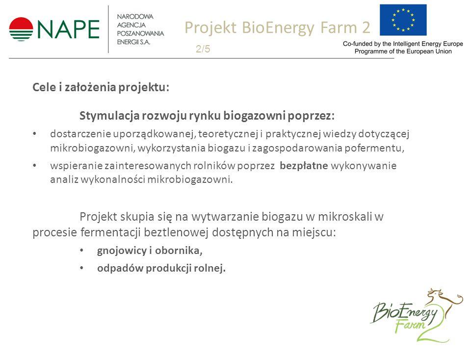 Cele i założenia projektu: Stymulacja rozwoju rynku biogazowni poprzez: dostarczenie uporządkowanej, teoretycznej i praktycznej wiedzy dotyczącej mikrobiogazowni, wykorzystania biogazu i zagospodarowania pofermentu, wspieranie zainteresowanych rolników poprzez bezpłatne wykonywanie analiz wykonalności mikrobiogazowni.