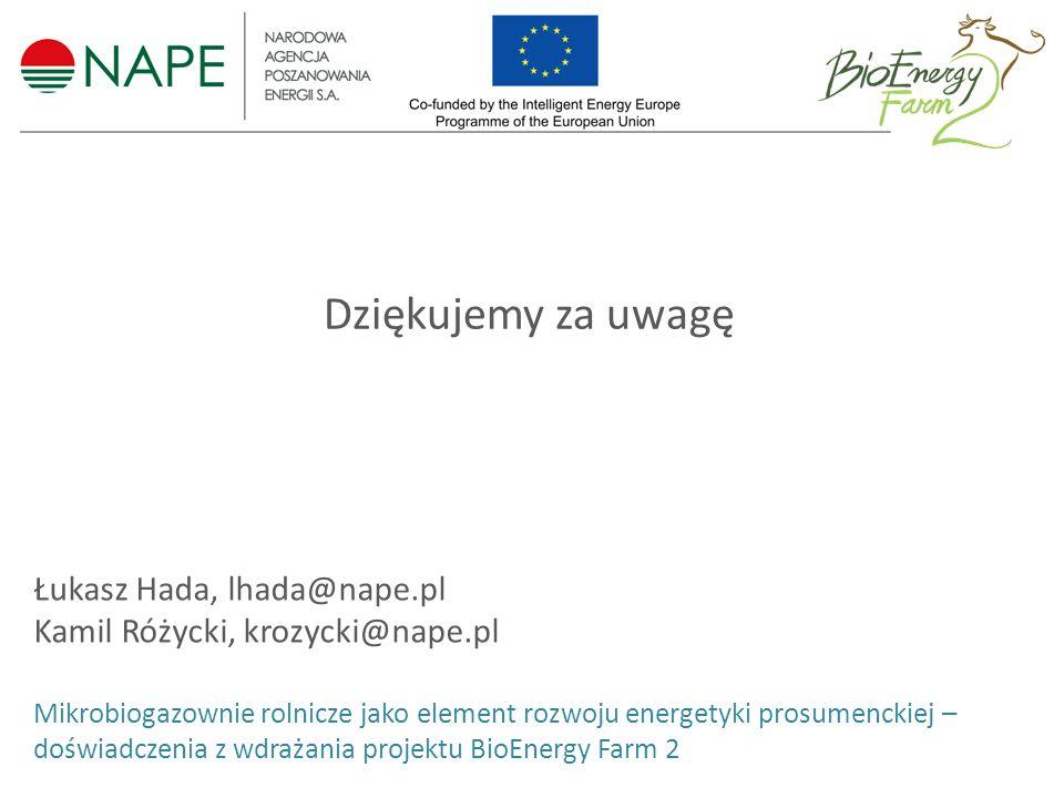 Łukasz Hada, lhada@nape.pl Kamil Różycki, krozycki@nape.pl Mikrobiogazownie rolnicze jako element rozwoju energetyki prosumenckiej – doświadczenia z wdrażania projektu BioEnergy Farm 2 Dziękujemy za uwagę