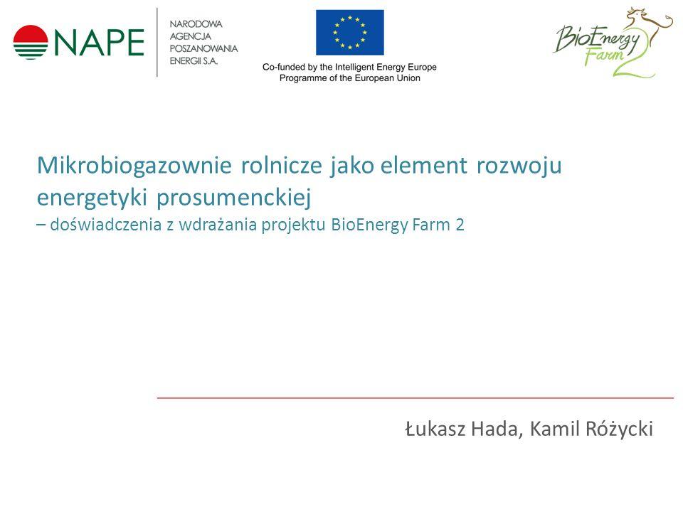 Łukasz Hada, Kamil Różycki Mikrobiogazownie rolnicze jako element rozwoju energetyki prosumenckiej – doświadczenia z wdrażania projektu BioEnergy Farm 2