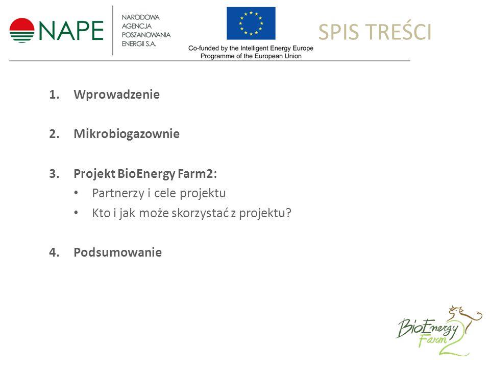 1.Wprowadzenie 2.Mikrobiogazownie 3.Projekt BioEnergy Farm2: Partnerzy i cele projektu Kto i jak może skorzystać z projektu.