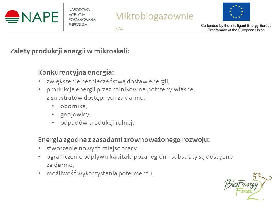 Zalety produkcji energii w mikroskali: Konkurencyjna energia: zwiększenie bezpieczeństwa dostaw energii, produkcja energii przez rolników na potrzeby własne, z substratów dostępnych za darmo: obornika, gnojowicy, odpadów produkcji rolnej.