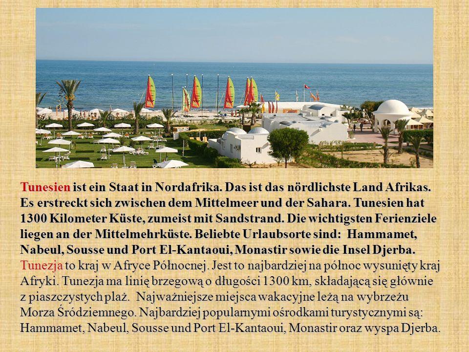 Tunesien ist ein Staat in Nordafrika. Das ist das nördlichste Land Afrikas. Es erstreckt sich zwischen dem Mittelmeer und der Sahara. Tunesien hat 130