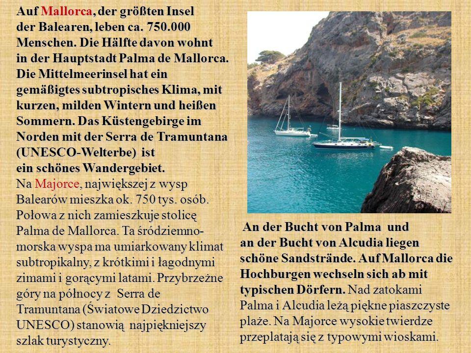 Auf Mallorca, der größten Insel der Balearen, leben ca.