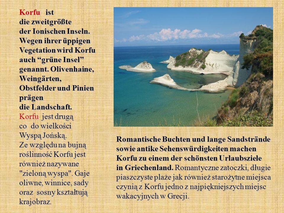 """Korfu ist die zweitgrößte der Ionischen Inseln. Wegen ihrer üppigen Vegetation wird Korfu auch """"grüne Insel"""" genannt. Olivenhaine, Weingärten, Obstfel"""