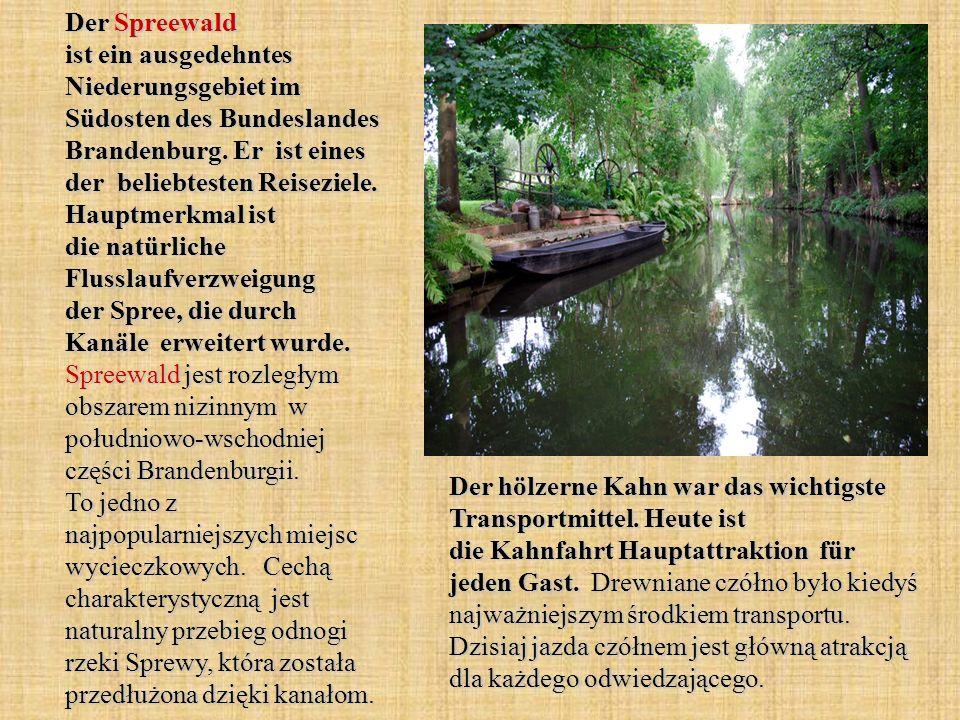 Der Spreewald ist ein ausgedehntes Niederungsgebiet im Südosten des Bundeslandes Brandenburg. Er ist eines der beliebtesten Reiseziele. Hauptmerkmal i