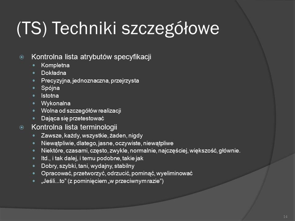 (TS) Techniki szczegółowe  Kontrolna lista atrybutów specyfikacji Kompletna Dokładna Precyzyjna, jednoznaczna, przejrzysta Spójna Istotna Wykonalna W