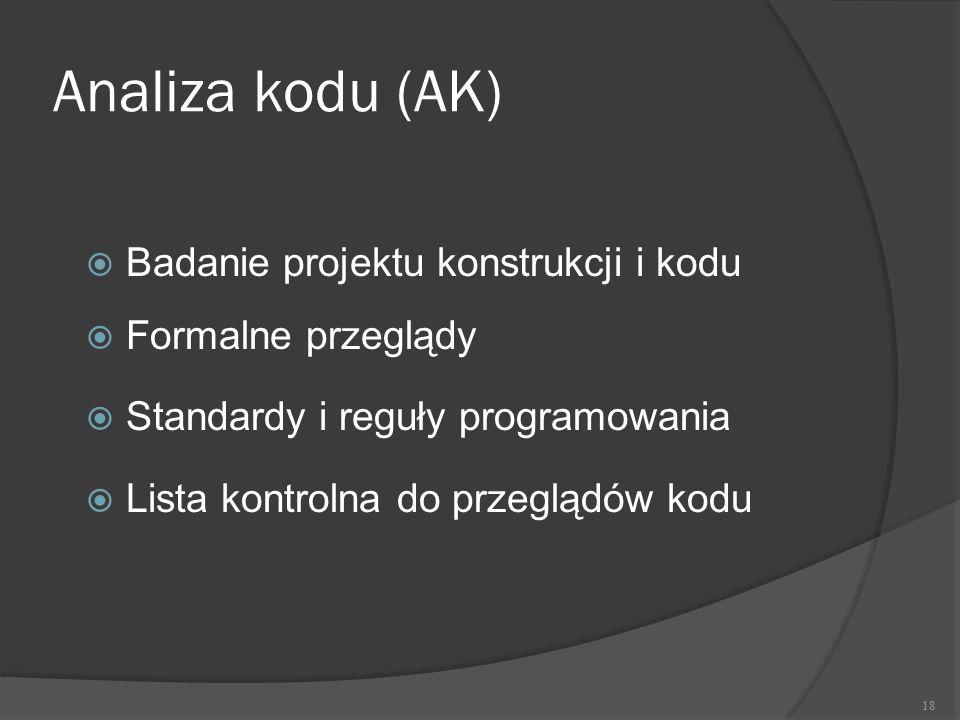 Analiza kodu (AK)  Badanie projektu konstrukcji i kodu  Formalne przeglądy  Standardy i reguły programowania  Lista kontrolna do przeglądów kodu 1