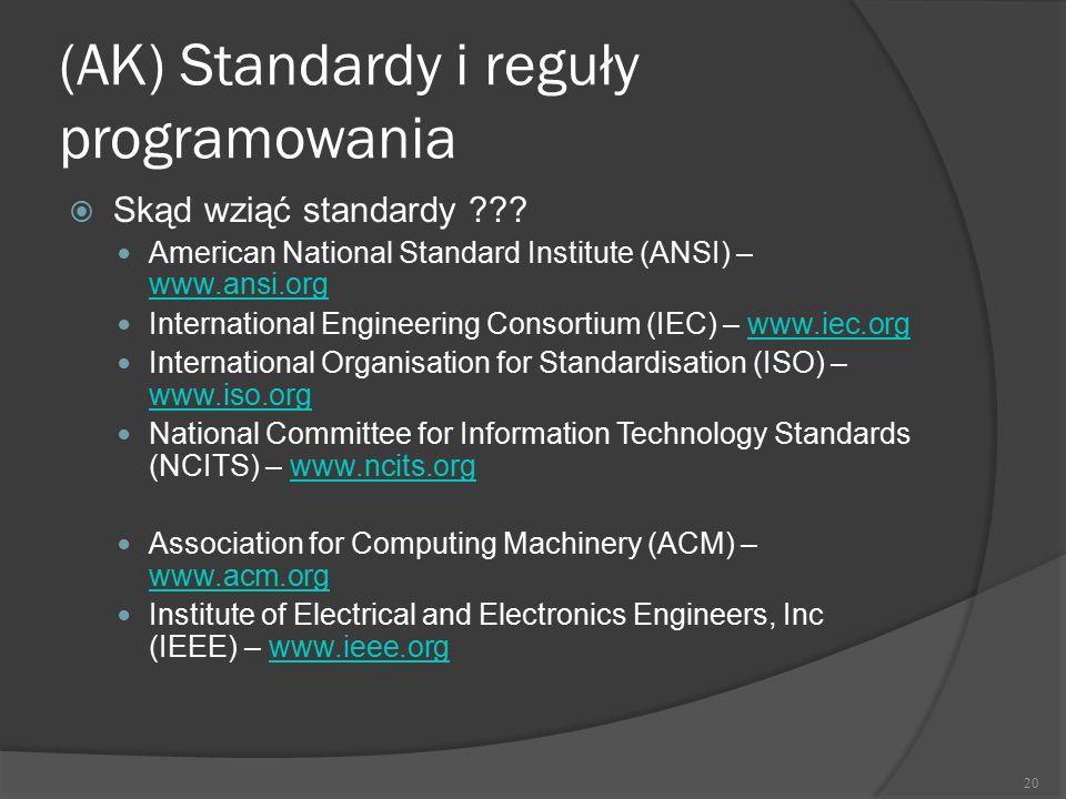 (AK) Standardy i reguły programowania  Skąd wziąć standardy ??? American National Standard Institute (ANSI) – www.ansi.org www.ansi.org International