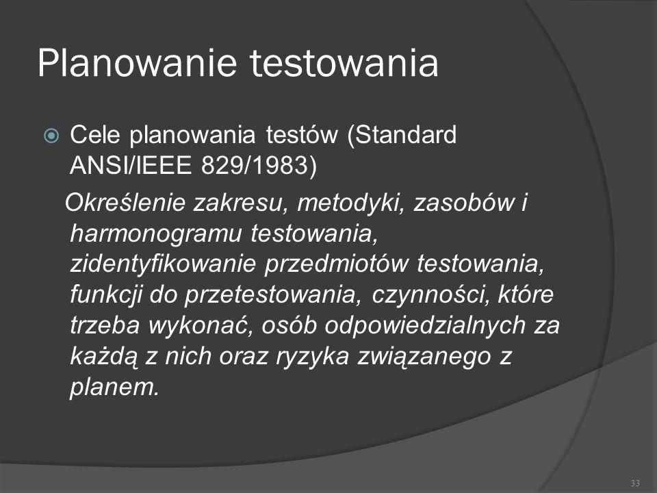 Planowanie testowania  Cele planowania testów (Standard ANSI/IEEE 829/1983) Określenie zakresu, metodyki, zasobów i harmonogramu testowania, zidentyf