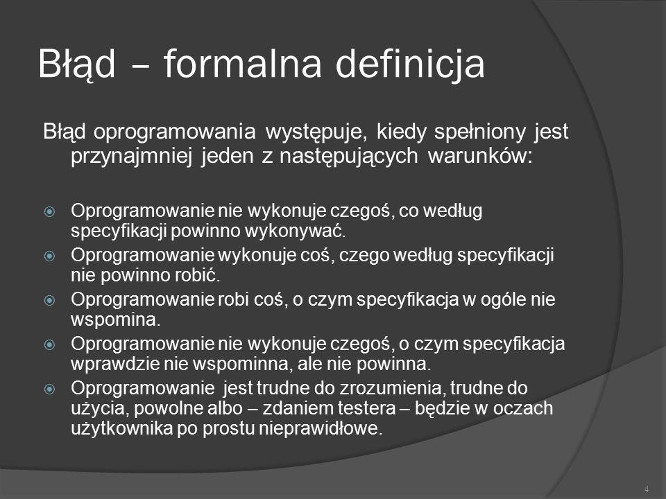 Błąd – formalna definicja Błąd oprogramowania występuje, kiedy spełniony jest przynajmniej jeden z następujących warunków:  Oprogramowanie nie wykonu