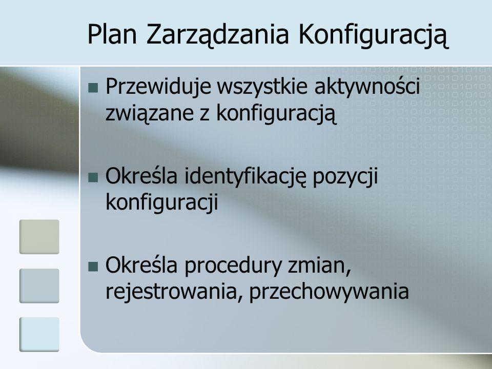 Plan Zarządzania Konfiguracją Przewiduje wszystkie aktywności związane z konfiguracją Określa identyfikację pozycji konfiguracji Określa procedury zmian, rejestrowania, przechowywania