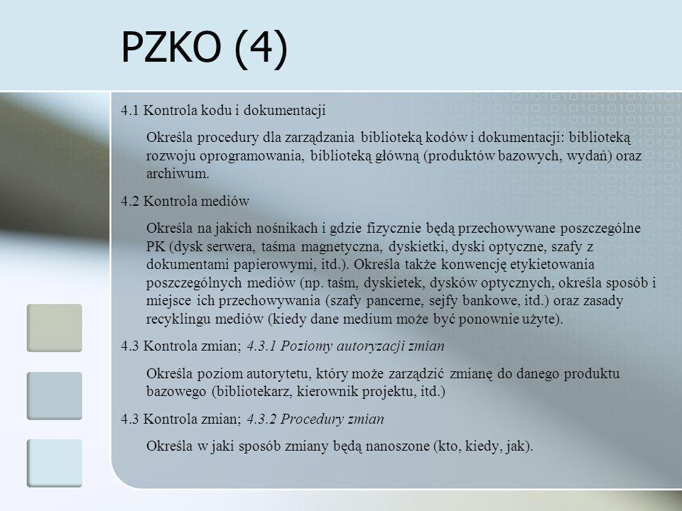 PZKO (4) 4.1 Kontrola kodu i dokumentacji Określa procedury dla zarządzania biblioteką kodów i dokumentacji: biblioteką rozwoju oprogramowania, biblioteką główną (produktów bazowych, wydań) oraz archiwum.