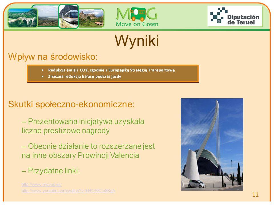 Your logo Here Wyniki Wpływ na środowisko: Skutki społeczno-ekonomiczne: – Prezentowana inicjatywa uzyskała liczne prestizowe nagrody – Obecnie działanie to rozszerzane jest na inne obszary Prowincji Valencia – Przydatne linki: http://www.movus.es/ http://www.youtube.com/watch?v=hHOS6Co8KqA 11