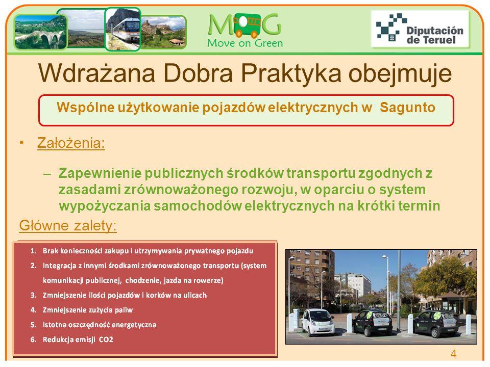 Your logo Here Wdrażana Dobra Praktyka obejmuje Założenia: –Zapewnienie publicznych środków transportu zgodnych z zasadami zrównoważonego rozwoju, w oparciu o system wypożyczania samochodów elektrycznych na krótki termin Główne zalety: 4 Wspólne użytkowanie pojazdów elektrycznych w Sagunto