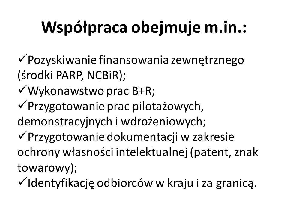 Współpraca obejmuje m.in.: Pozyskiwanie finansowania zewnętrznego (środki PARP, NCBiR); Wykonawstwo prac B+R; Przygotowanie prac pilotażowych, demonstracyjnych i wdrożeniowych; Przygotowanie dokumentacji w zakresie ochrony własności intelektualnej (patent, znak towarowy); Identyfikację odbiorców w kraju i za granicą.
