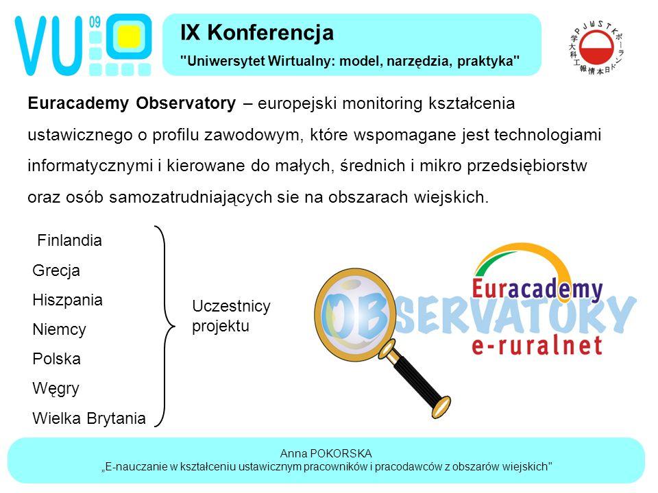 """Anna POKORSKA """"E-nauczanie w kształceniu ustawicznym pracowników i pracodawców z obszarów wiejskich IX Konferencja Uniwersytet Wirtualny: model, narzędzia, praktyka Euracademy Observatory – europejski monitoring kształcenia ustawicznego o profilu zawodowym, które wspomagane jest technologiami informatycznymi i kierowane do małych, średnich i mikro przedsiębiorstw oraz osób samozatrudniających sie na obszarach wiejskich."""