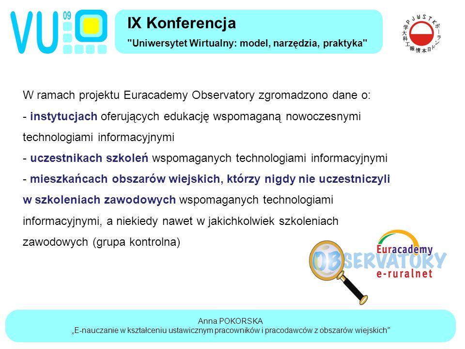 """Anna POKORSKA """"E-nauczanie w kształceniu ustawicznym pracowników i pracodawców z obszarów wiejskich IX Konferencja Uniwersytet Wirtualny: model, narzędzia, praktyka W ramach projektu Euracademy Observatory zgromadzono dane o: - instytucjach oferujących edukację wspomaganą nowoczesnymi technologiami informacyjnymi - uczestnikach szkoleń wspomaganych technologiami informacyjnymi - mieszkańcach obszarów wiejskich, którzy nigdy nie uczestniczyli w szkoleniach zawodowych wspomaganych technologiami informacyjnymi, a niekiedy nawet w jakichkolwiek szkoleniach zawodowych (grupa kontrolna)"""