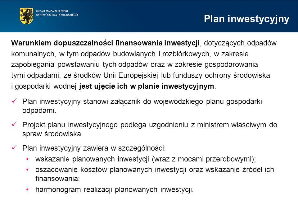 Warunkiem dopuszczalności finansowania inwestycji, dotyczących odpadów komunalnych, w tym odpadów budowlanych i rozbiórkowych, w zakresie zapobiegania powstawaniu tych odpadów oraz w zakresie gospodarowania tymi odpadami, ze środków Unii Europejskiej lub funduszy ochrony środowiska i gospodarki wodnej jest ujęcie ich w planie inwestycyjnym.