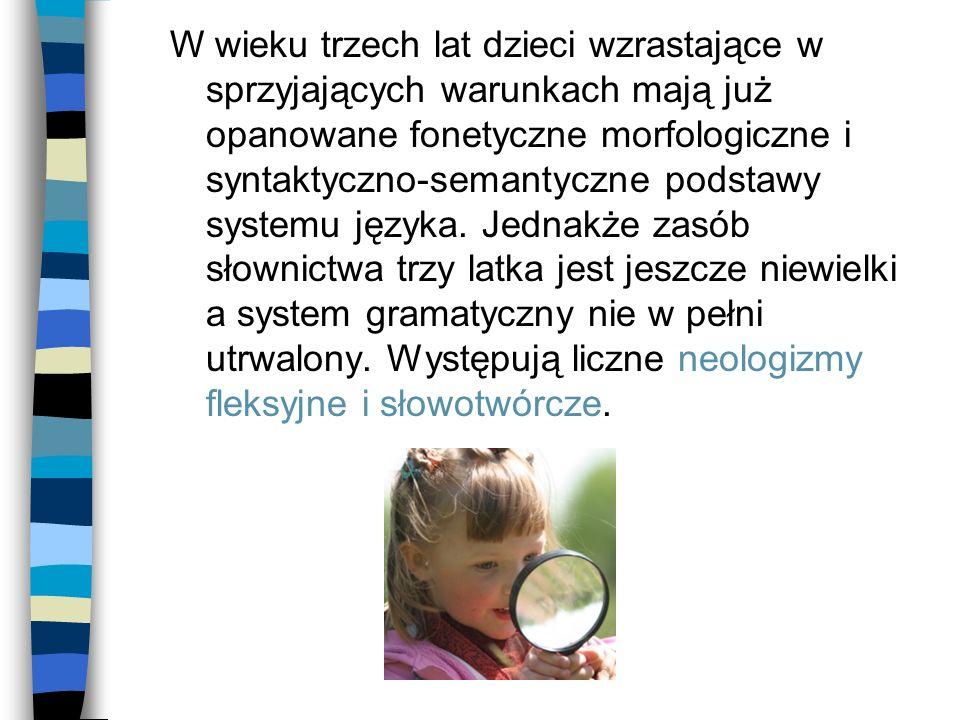 W wieku trzech lat dzieci wzrastające w sprzyjających warunkach mają już opanowane fonetyczne morfologiczne i syntaktyczno-semantyczne podstawy system