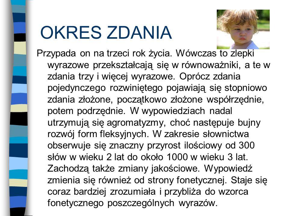 BIBLIOGRAFIA: M.Przetacznikowa- Gierowska : Psychologia rozwojowa i wychowawcza G.