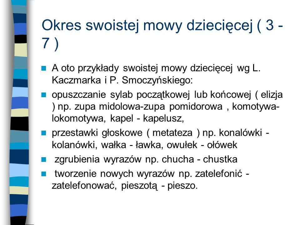 Okres swoistej mowy dziecięcej ( 3 - 7 ) A oto przykłady swoistej mowy dziecięcej wg L. Kaczmarka i P. Smoczyńskiego: opuszczanie sylab początkowej lu