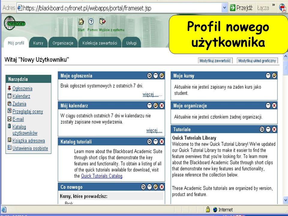 Profil nowego użytkownika