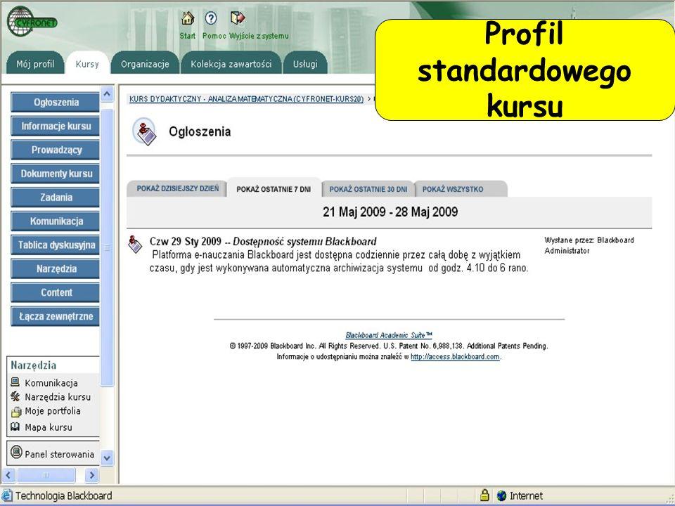 Profil standardowego kursu