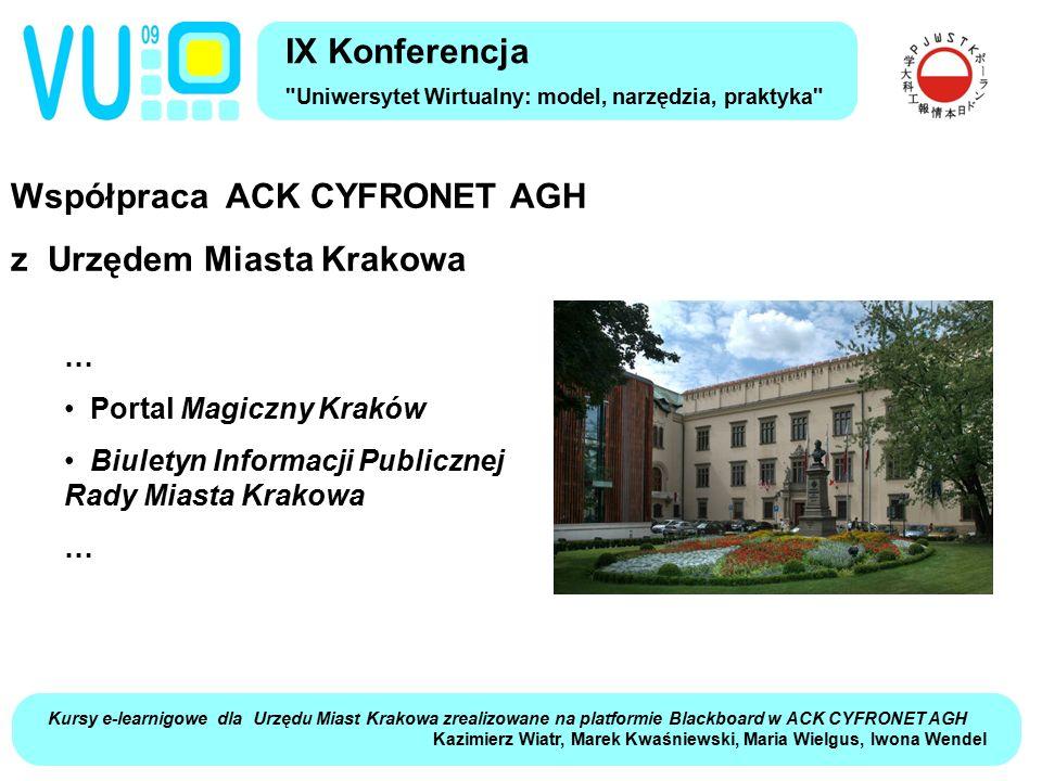 Współpraca ACK CYFRONET AGH z Urzędem Miasta Krakowa IX Konferencja