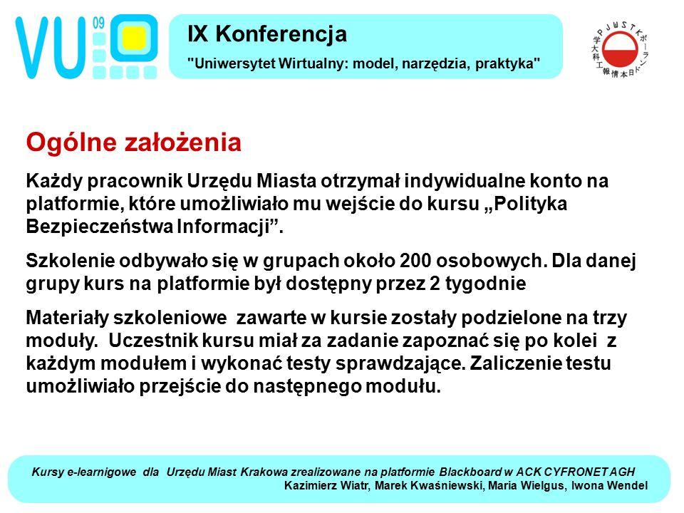 Kursy e-learnigowe dla Urzędu Miast Krakowa zrealizowane na platformie Blackboard w ACK CYFRONET AGH Kazimierz Wiatr, Marek Kwaśniewski, Maria Wielgus