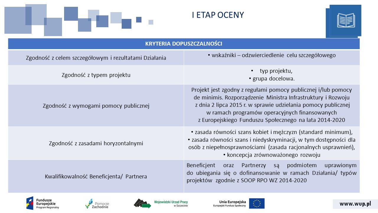 www.wup.pl I ETAP OCENY KRYTERIA DOPUSZCZALNOŚCI Zgodność z celem szczegółowym i rezultatami Działania wskaźniki – odzwierciedlenie celu szczegółowego Zgodność z typem projektu typ projektu, grupa docelowa.