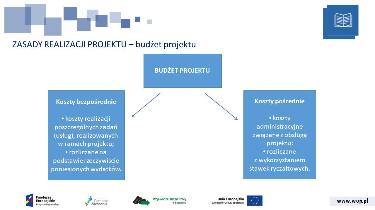 www.wup.pl ZASADY REALIZACJI PROJEKTU – budżet projektu BUDŻET PROJEKTU Koszty bezpośrednie koszty realizacji poszczególnych zadań (usług), realizowanych w ramach projektu; rozliczane na podstawie rzeczywiście poniesionych wydatków.