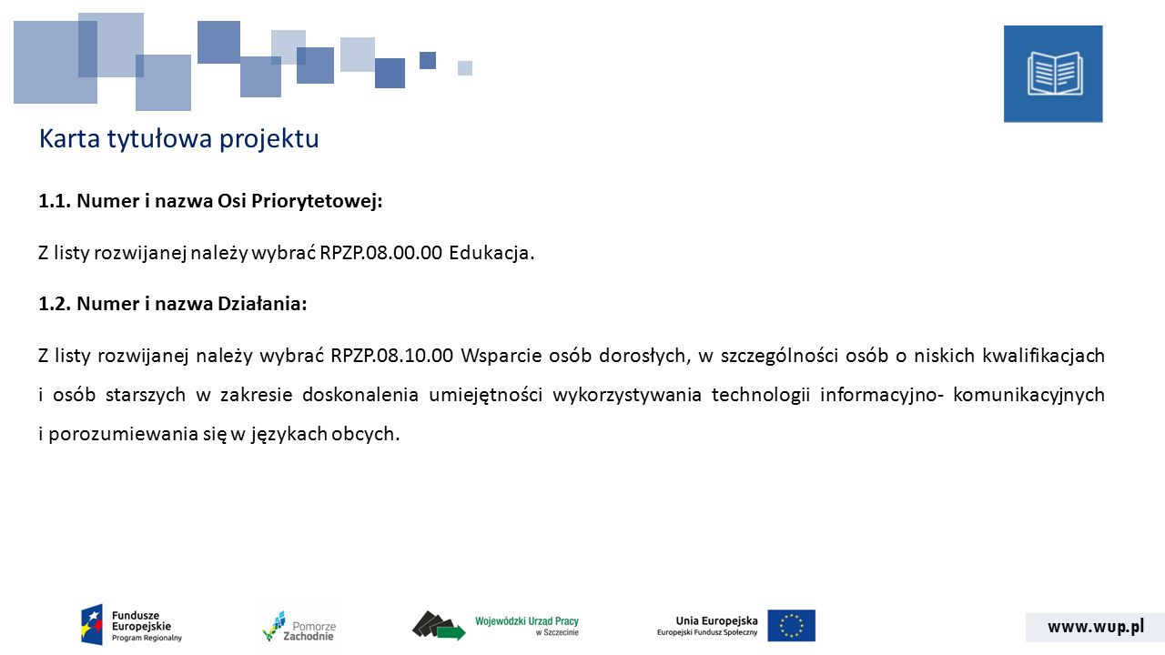 www.wup.pl Karta tytułowa projektu 1.1.