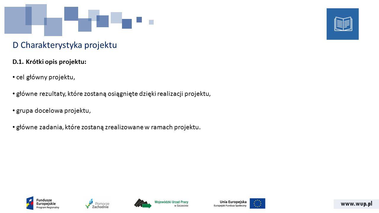 www.wup.pl D Charakterystyka projektu D.1.