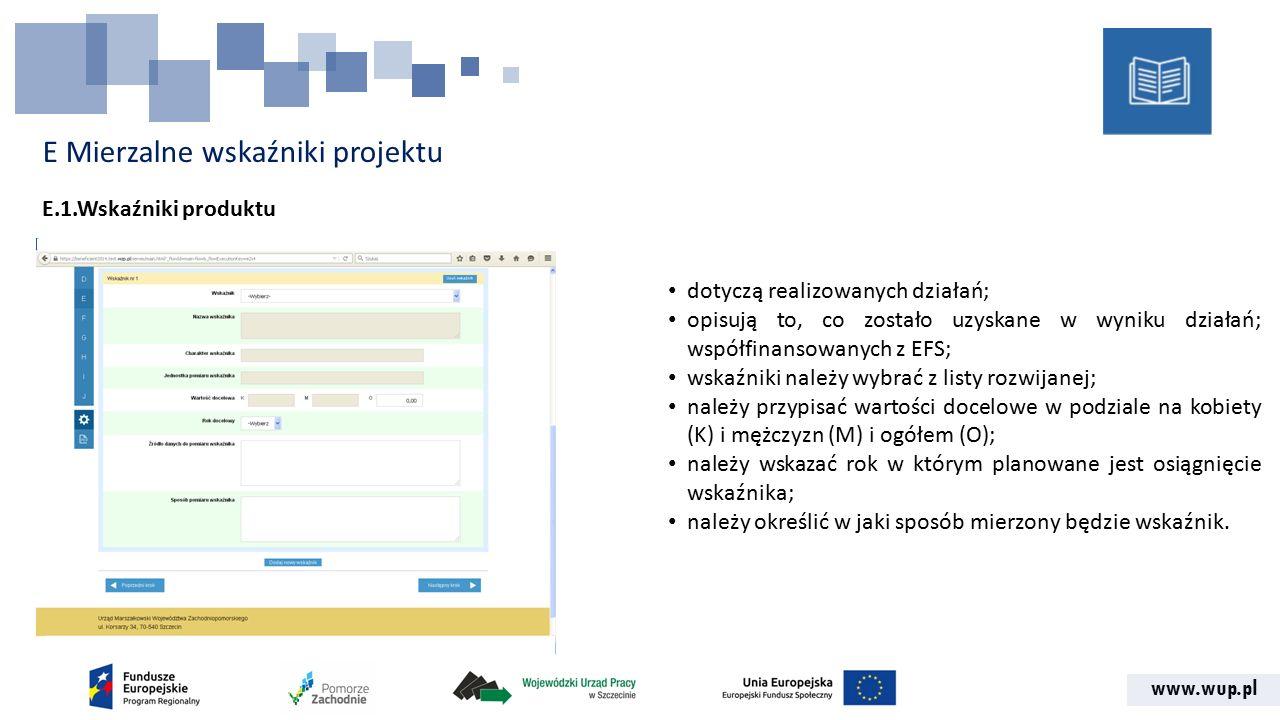 www.wup.pl E Mierzalne wskaźniki projektu E.1.Wskaźniki produktu dotyczą realizowanych działań; opisują to, co zostało uzyskane w wyniku działań; współfinansowanych z EFS; wskaźniki należy wybrać z listy rozwijanej; należy przypisać wartości docelowe w podziale na kobiety (K) i mężczyzn (M) i ogółem (O); należy wskazać rok w którym planowane jest osiągnięcie wskaźnika; należy określić w jaki sposób mierzony będzie wskaźnik.