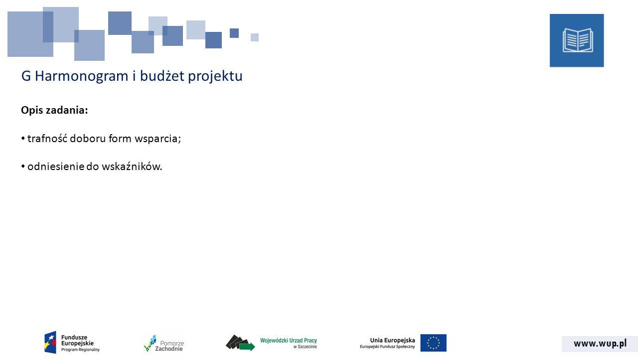 www.wup.pl G Harmonogram i budżet projektu Opis zadania: trafność doboru form wsparcia; odniesienie do wskaźników.