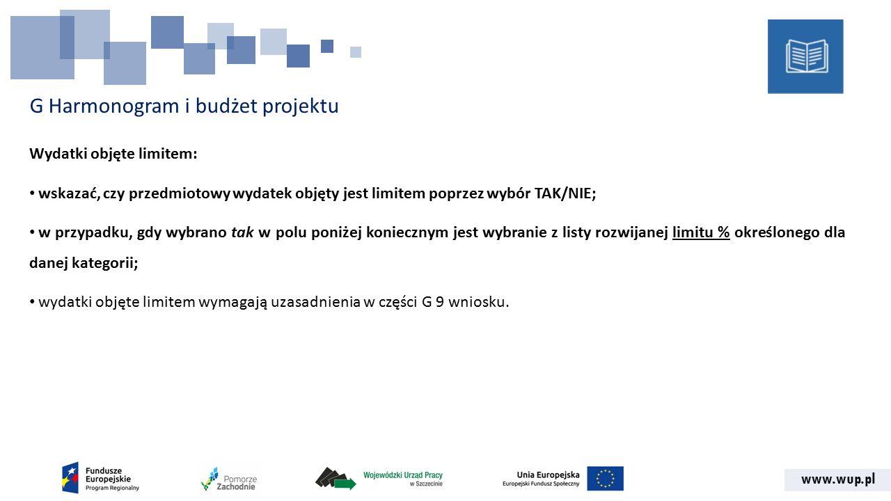 www.wup.pl G Harmonogram i budżet projektu Wydatki objęte limitem: wskazać, czy przedmiotowy wydatek objęty jest limitem poprzez wybór TAK/NIE; w przypadku, gdy wybrano tak w polu poniżej koniecznym jest wybranie z listy rozwijanej limitu % określonego dla danej kategorii; wydatki objęte limitem wymagają uzasadnienia w części G 9 wniosku.