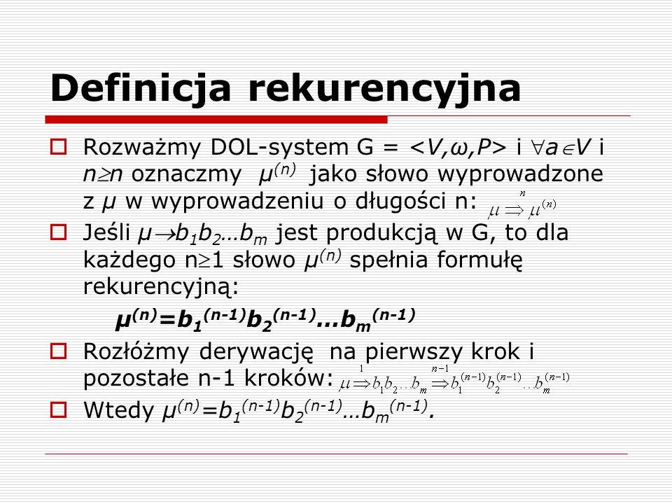 Definicja rekurencyjna  Rozważmy DOL-system G = i aV i nn oznaczmy µ (n) jako słowo wyprowadzone z µ w wyprowadzeniu o długości n:  Jeśli µb 1 b