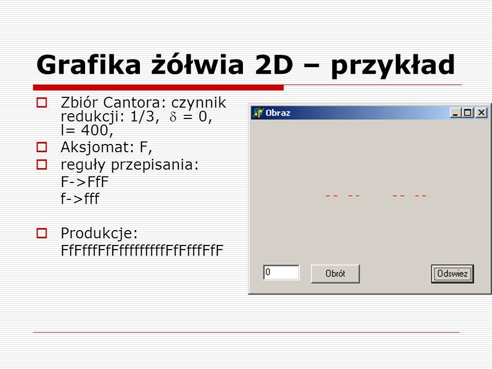 Grafika żółwia 2D – przykład  Zbiór Cantora: czynnik redukcji: 1/3,  = 0, l= 400,  Aksjomat: F,  reguły przepisania: F->FfF f->fff  Produkcje: Ff