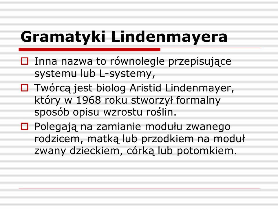 Gramatyki Lindenmayera  Inna nazwa to równolegle przepisujące systemu lub L-systemy,  Twórcą jest biolog Aristid Lindenmayer, który w 1968 roku stwo