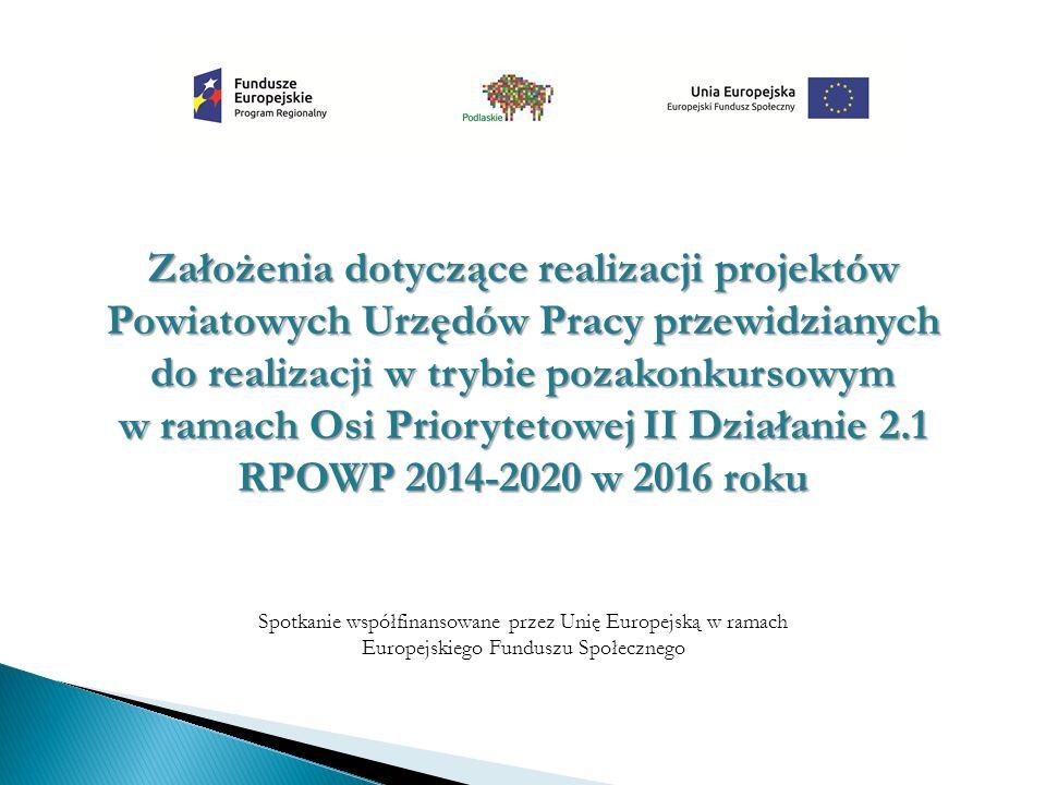 Założenia dotyczące realizacji projektów Powiatowych Urzędów Pracy przewidzianych do realizacji w trybie pozakonkursowym w ramach Osi Priorytetowej II Działanie 2.1 RPOWP 2014-2020 w 2016 roku Spotkanie współfinansowane przez Unię Europejską w ramach Europejskiego Funduszu Społecznego