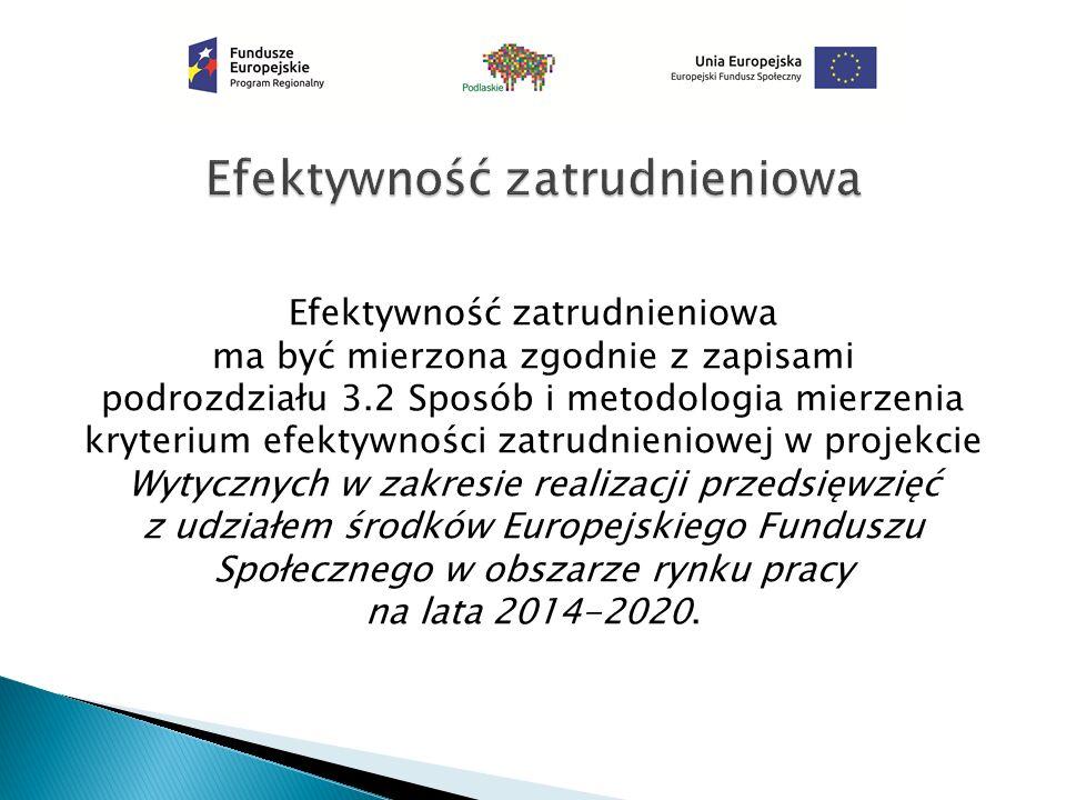Efektywność zatrudnieniowa ma być mierzona zgodnie z zapisami podrozdziału 3.2 Sposób i metodologia mierzenia kryterium efektywności zatrudnieniowej w projekcie Wytycznych w zakresie realizacji przedsięwzięć z udziałem środków Europejskiego Funduszu Społecznego w obszarze rynku pracy na lata 2014-2020.